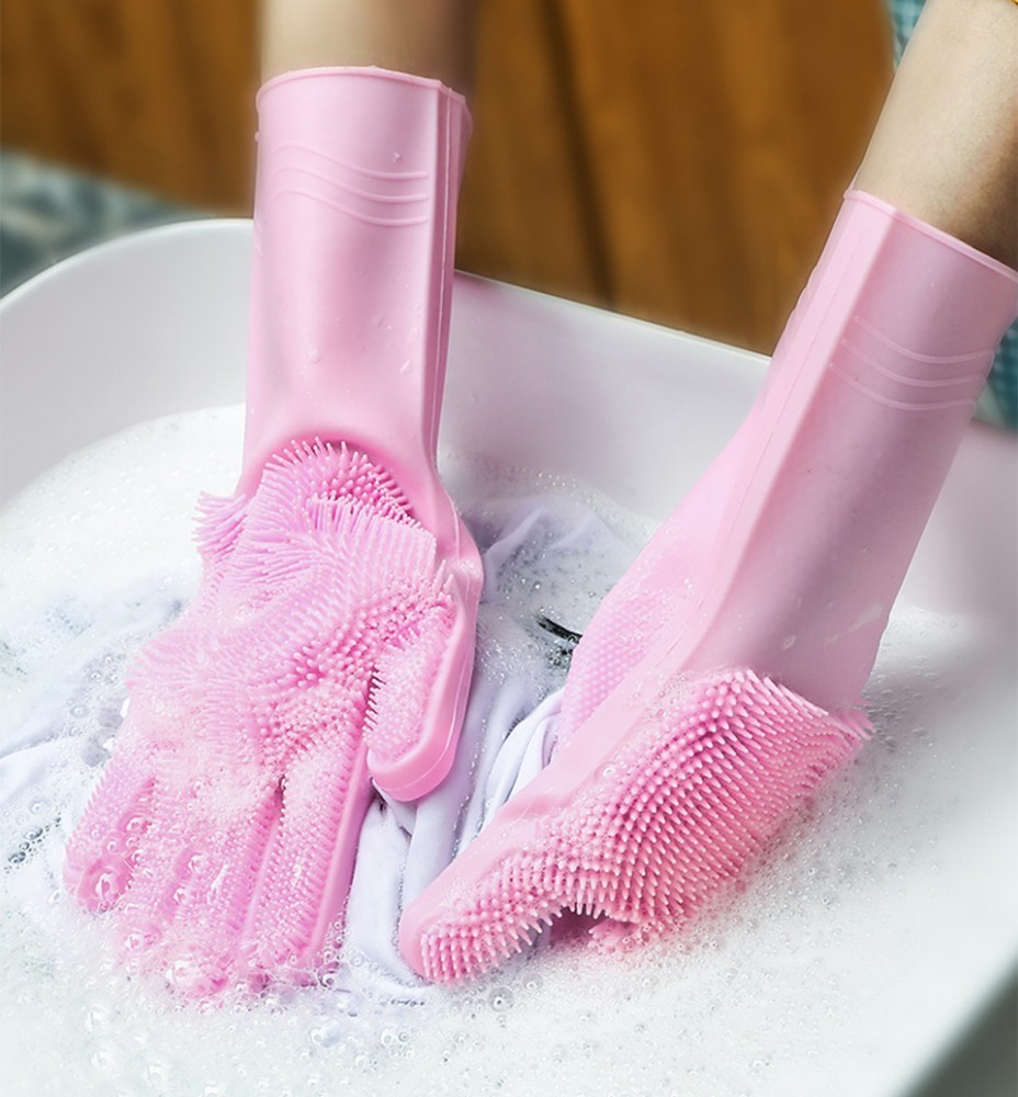 a pair of kitchen Brush Gloves Food Grade Dishwashing Cleaning Magic Rubber Glove for Household Scrubber  Kitchen Clean Tool|Household Gloves| |  - title=
