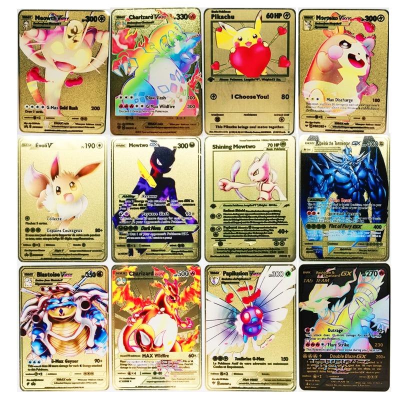 Pokemon 27 style nowy Mewtwo GX MEGA złoty Metal Card supergra kolekcja Anime karty zabawki dla dzieci prezent na boże narodzenie