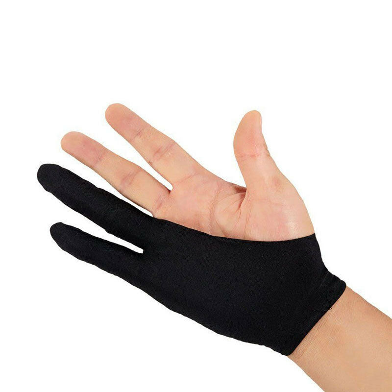 Artist Drawing Glove For Any Graphics Drawing Tablet Black 2 Finger Anti-fouling Both For Right And Left Hand Black Free Size