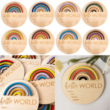 1pc Wooden Rainbow Baby Milestone Cards Newborn Monthly Growth Record Commemorate Baby Birth Cards Souvenir Shower Gifts