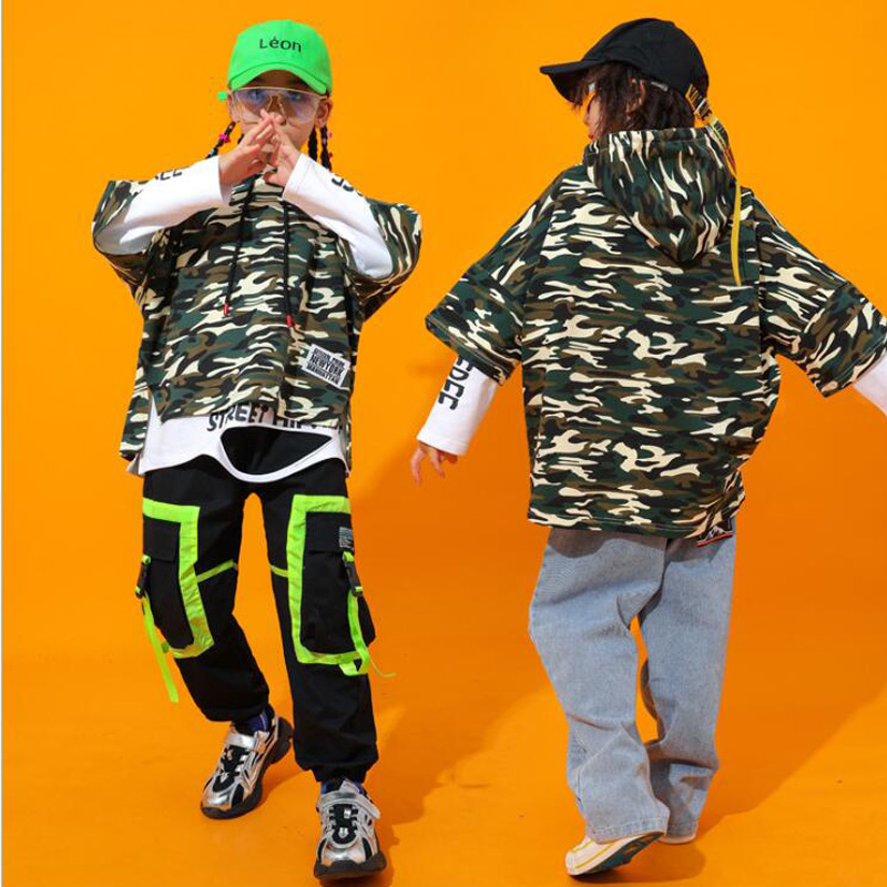 Kid Fashion Camouflage Hoodie Sweatshirt Tops Running Casual Hip Hop Pants Clothing For Girls Boys Jazz Dance Costume Clothes
