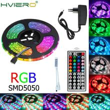 BEKCMTH RGB светодиодные полосы света водонепроницаемый ленты 12В диодной ленты SMD2835 Сид 5050 5М 10М светодиодные полосы лампа с ИК-пульта дистанционного управления