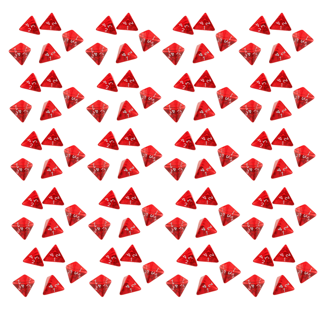 100 Pieces Red Gem Polyhedral Dices Set D4 Die Four-sided Dice For Dungeons & Dragons Table Games