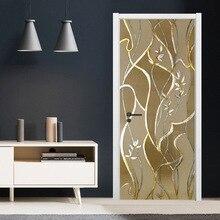 3D PVC Sticker Self-adhesive Door Sticker Bedroom Living Room Door Modern Decorative Sticker Door Decoration Wallpaper HomeDecor