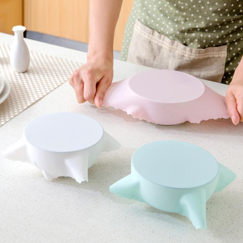 Kitchen New Bowl Lid Silicone Plastic Wrap Cover Microwave Oven Refrigerator Fresh Bowl Seal Stretch Food Fresh Keeping Wra