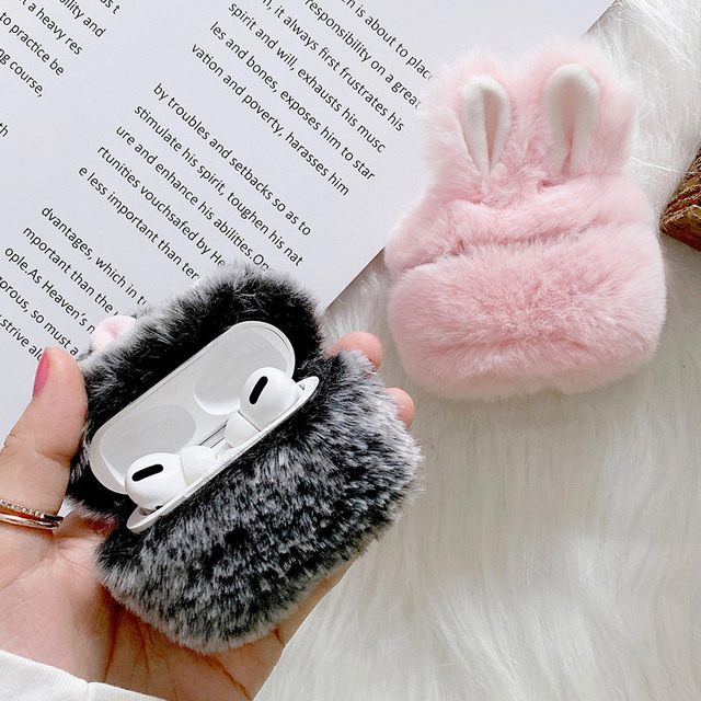 Soft Rabbit Ear Fur Case for Apple AirPods 1 2 Wireless Charging Fluffy Box with Carabiner Plush Cover for Airpods Pro Case Capa 4