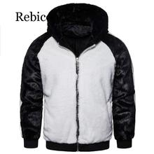 Rebicoo Winter Men Patchwork Faux Fur Parka Overcoat Color Block Hooded Coats Warm Jacket