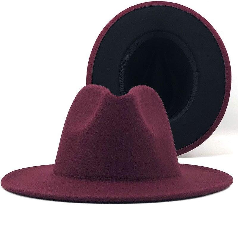 Sombrero de fieltro de lana para hombre y mujer, gorra de Jazz con hebilla de cinturón Delgado, color rojo vino, Panamá de ala ancha, gorra Trilby X XL