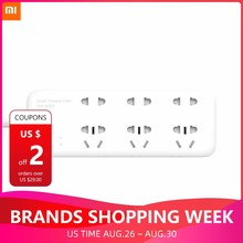 Oringinal Xiaomi Mijia Smart 6 Port Electrical Socket Timing Switch Patch Board APP WIFI Remote Control Power Strip Outlet Plug(China)