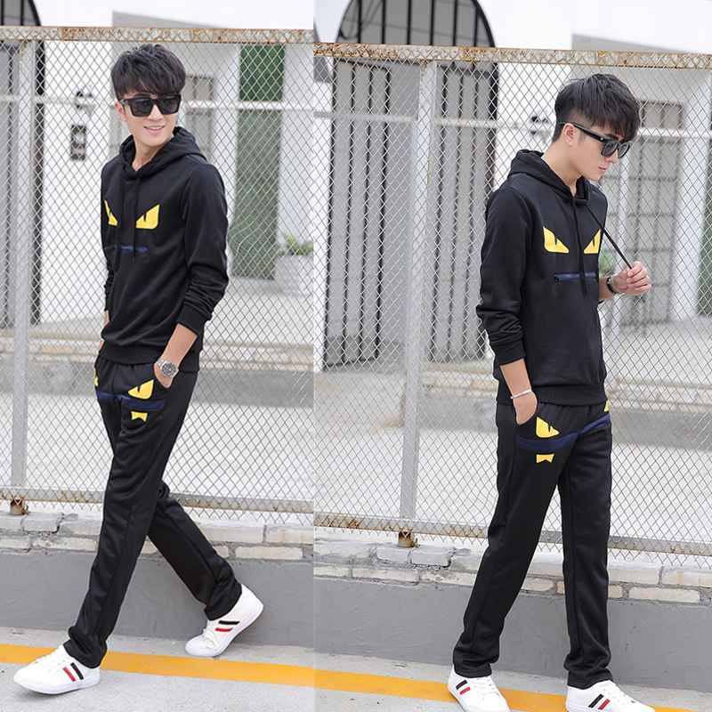Spring And Autumn Sports Casual Hoodie Suit Men's Little Monster Korean-style Long Sleeve Trousers Thin Students Business Attire