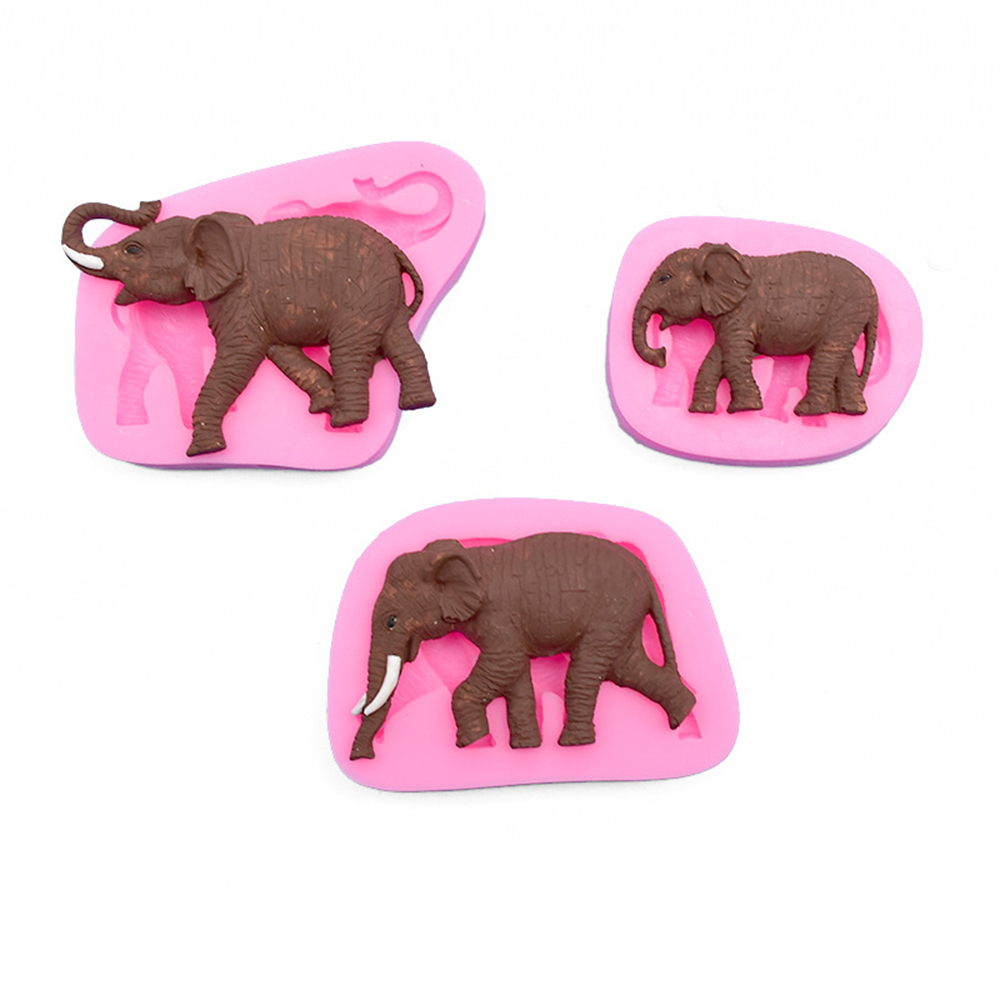 Animal Elephant Sugarcraft <font><b>Silicone</b></font> <font><b>Mold</b></font> <font><b>Fondant</b></font> <font><b>Molds</b></font> <font><b>Cake</b></font> <font><b>Decorating</b></font> <font><b>Tools</b></font> Chocolate Gumpaste Baking Moulds Resin Clay Mould image