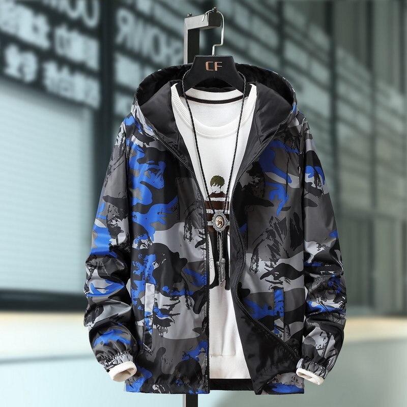 Spring Jacket Men College Jacket Both Sides Camouflage Clothes Jacket Men Fashion Print Coat Outwear Male Windbreaker Streetwear