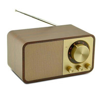 Retro Portable Bluetooth Speaker Wooden Plug in Card FM Radio with Antenna Wireless Player Audio Subwoofer Caixa De Som F4075