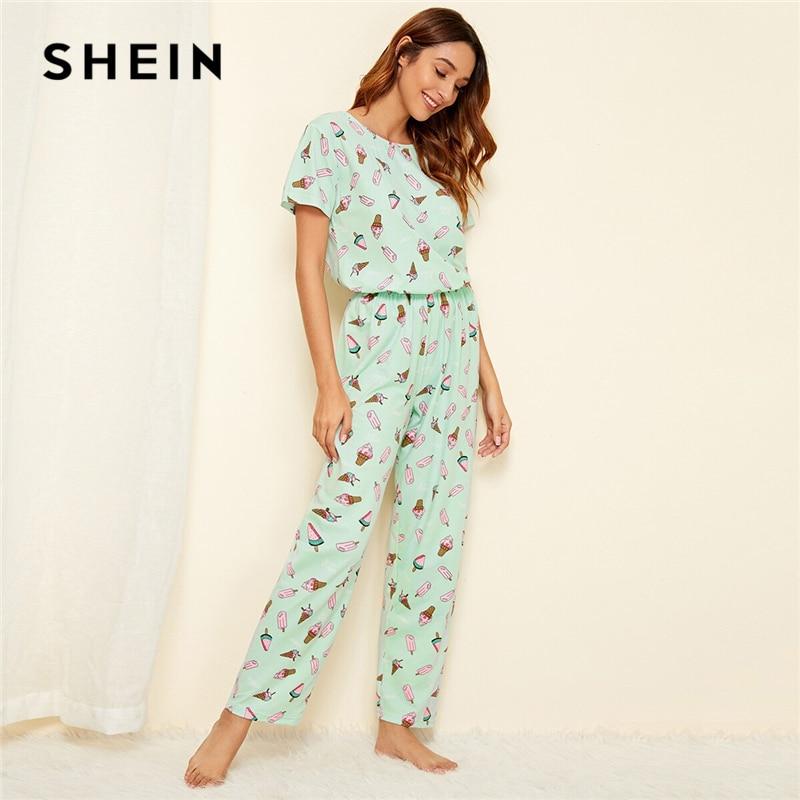 SHEIN Green Ice Cream Print Pajama Set Casual Short Sleeve Long Pants Pajama Set Women Summer Ladies Sleepwear Pajama Sets