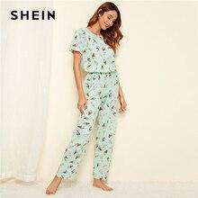 SHEIN vert glace impression pyjama ensemble décontracté à manches courtes Long pantalon pyjama ensemble femmes dété vêtements de nuit femmes pyjamas ensembles