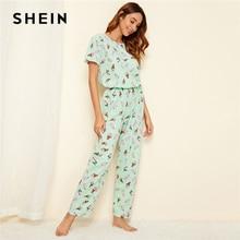 SHEIN зеленый пижамный комплект с принтом мороженого, Повседневная Пижама с короткими рукавами и длинными штанами, пижамный комплект для женщин, летняя женская пижама, пижамные комплекты