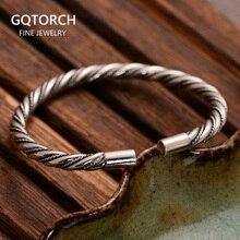 Auténtica Plata de Ley 925 brazalete pulseras brazalete de alambre trenzado pulsera de plata tailandesa para las mujeres y los hombres Manchette Argent