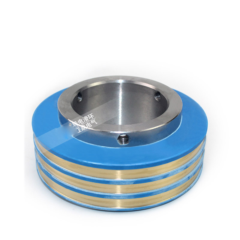 Generator collector ring wear resistant 3-way rotating conductive copper ring connection carbon brush type conductive slip ring