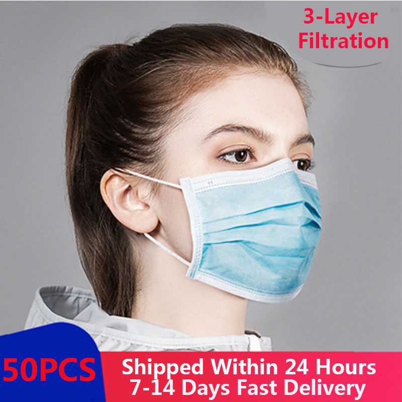 50 Pieces Disposable Anti-Pollution 3-Layer Anti-Dust Antibacterial Mask  Disposable Face Mask Protective Filter Thickened Mask