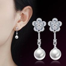 Fashion Silver-color Simulated Pearl Pendant Long Chain Cubic Earrings Bridal Wedding Jewelry Drop