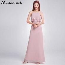 Modecrush Elegant Women Long Purple Bridesmaid Dress with Ruched Bust 2019 New Morandi Color Halter Maxi High Waist Wear