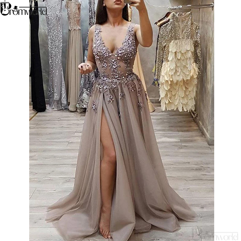 Latest Fashion V Neck Gray   Prom     Dresses   Long With Appliques Beading Sexy Side Slit Tulle Evening   Dress     Prom   Party Gown 2019