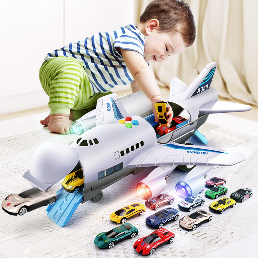 Music Story Inertia Airplane Aircraft Toys Diecast & Vehicles Toys Simulation Passenger Plane Car Toys For Children Gift