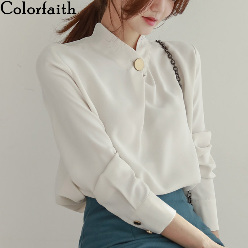 Colorfaith New 2020 Women Spring Summer Blouses Shirts Casual Stand Collar Vintage Buttons Chiffon Office Lady Tops BL3061-1