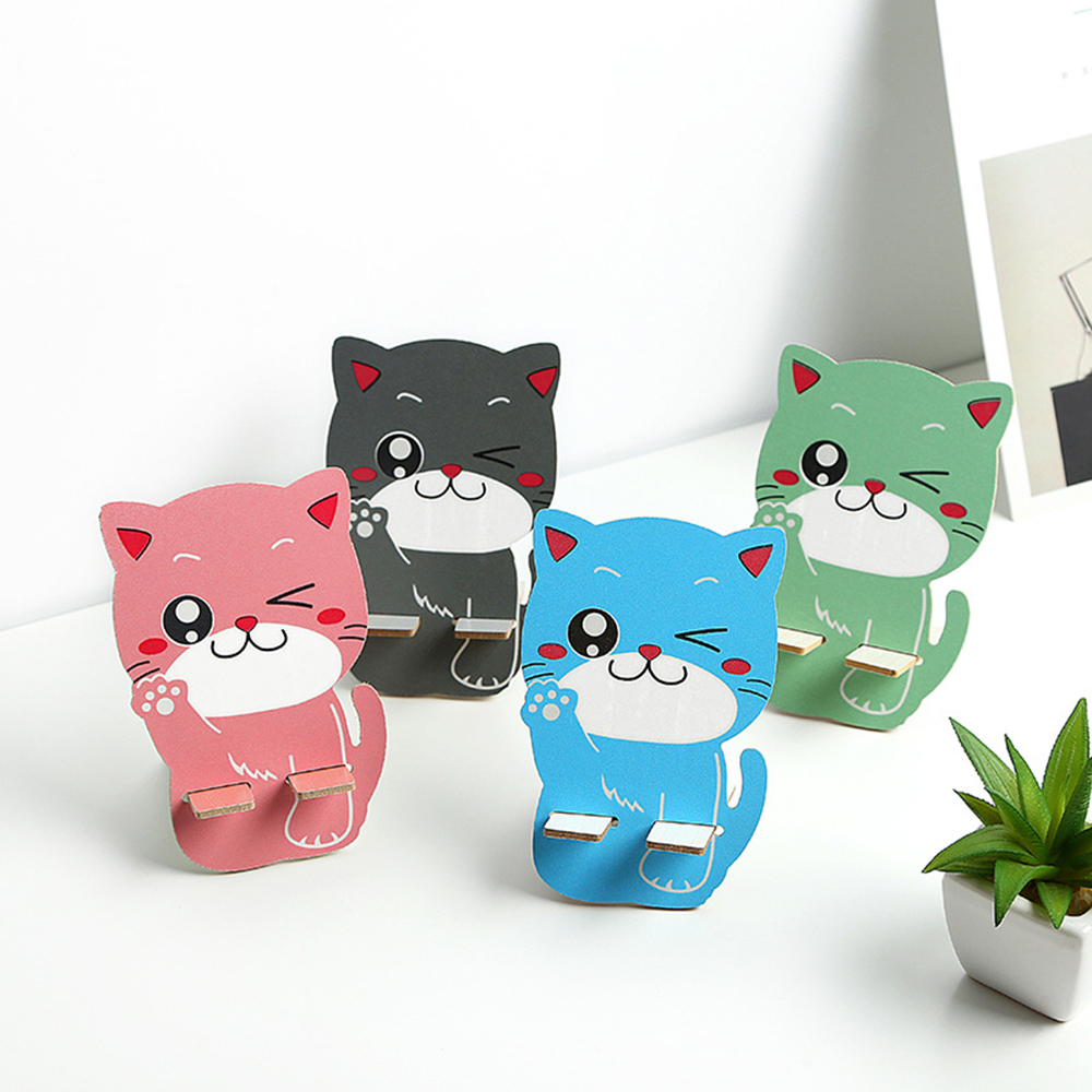 Cute Cartoon Cat Wooden Phone Mount Holder Universal Convenient Phone Holder Desk Stand For Iphone 6 7 8 X For Huawei All Phone