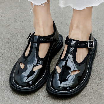Genuine Leather Women Mary Janes Shoes Brand Designer Black Girls Shoes Flat Hollow Out Shoes Buckles Flats Ladies Flats New