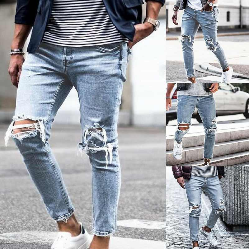 Men Fashion Hole Jeans Ripped Skinny Distressed Destroyed Slim Fit Stretch Biker Jeans 2019 New Pants Male Autumn Denim Trousers