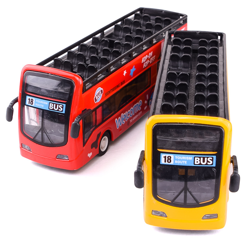 1:32 Alloy Bus Car Model Sightseeing Acoustic Light Double Deck Outdoor Bus Model Pull Back Doors Open Car Kids Toys Cars 011