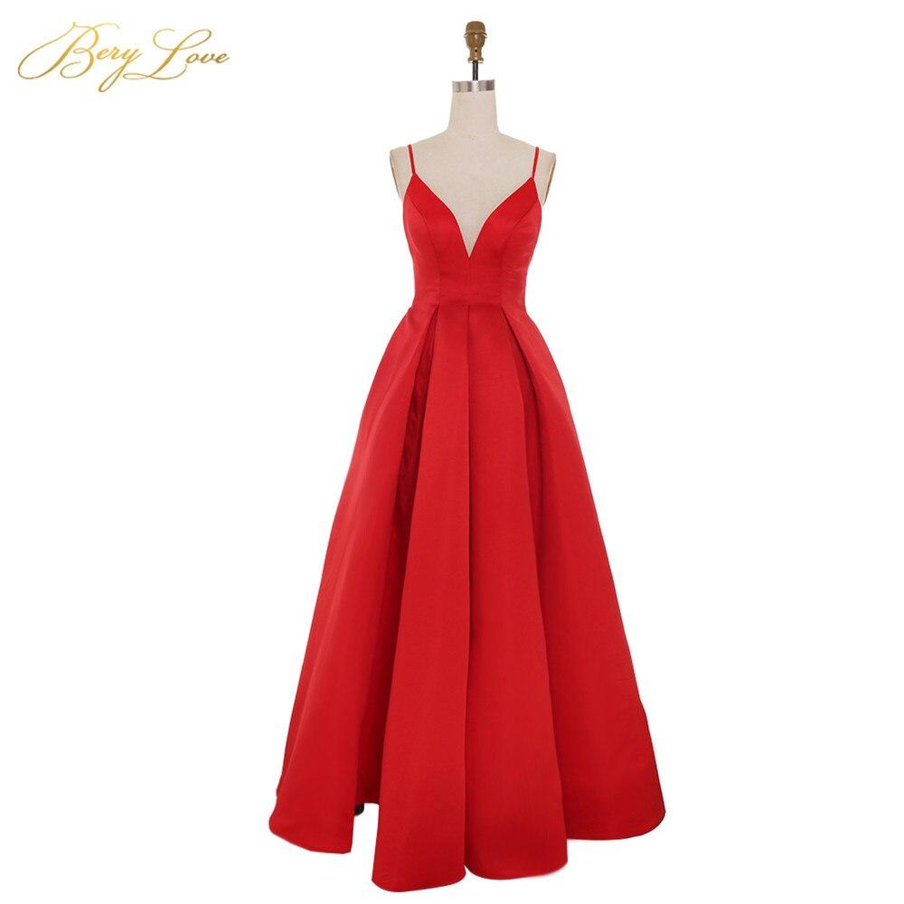 BeryLove Bright Red Evening Dress 2019 Sexy Spaghetti Straps Vestidos De Fiesta V Neck Open Back Robe De Soiree Long Prom Gowns