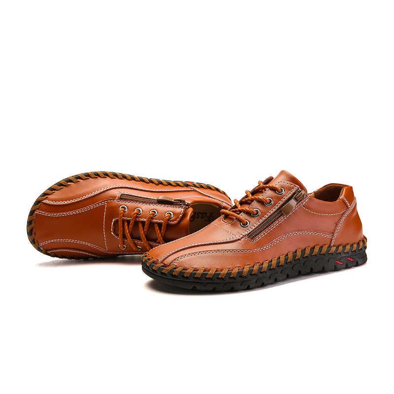 נעליים יומיומיות גברים אמיתיות עור שטוח שרוכים באיכות גבוהה מעצב נעליים יומיומיות גברים מוקסינים Sneaker נעלי 38-50