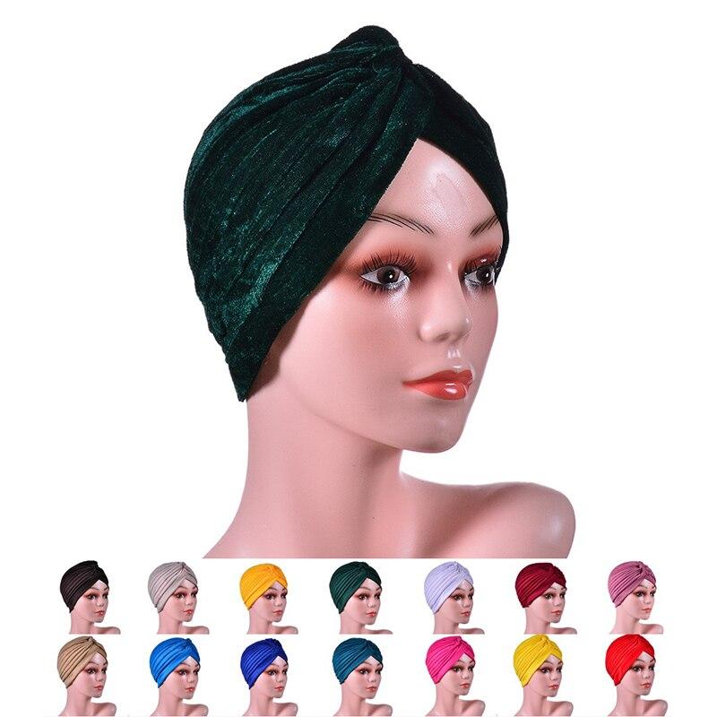 Women Knot Twist Turban Headbands Cap Beanie Autumn Winter Warm Headwear Casual Streetwear Female Muslim Indian Hats Caps Hijabs