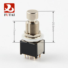 Mini Push Button Switch ON ON 9 Pins 17MM 3PDT DIY Guitar Effect Pedal Foot Switches Latching With  PCB Terminal