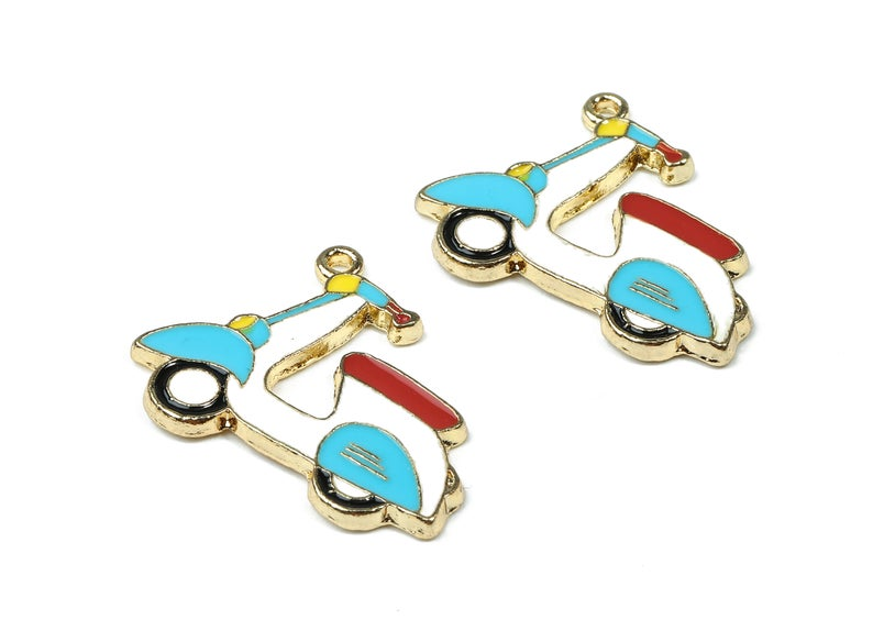 Alloy Scooter Charms - Zinc Alloy Scooter Earrings - Scooter Pendant - Enamel Pendant - 4Pcs/Lot - 25.57x20.23x1.78mm - ZZ1453