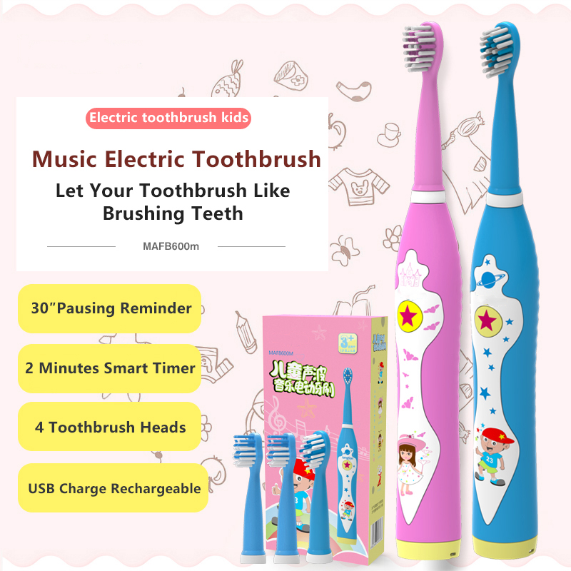 Child Electric Toothbrush Dental Electric Cleaning Brush Kids Ultrasonic Rechargeable Toothbrush Music Sonic Toothbrush image