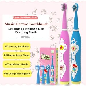 Image 1 - Kind Elektrische Zahnbürste Dental Elektrische Reinigung Pinsel Kinder Ultra sonic Wiederaufladbare Zahnbürste Musik Sonic Zahnbürste