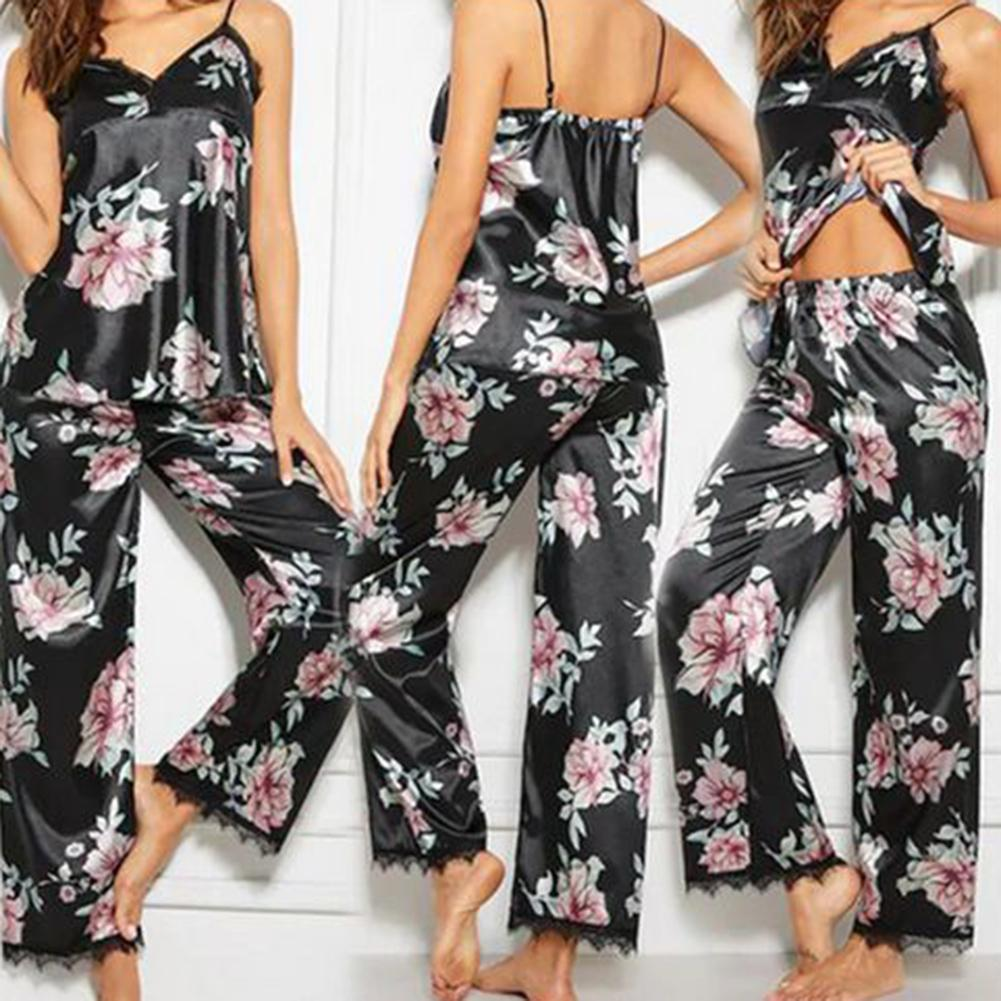 2Pcs Summer Sexy Pajama Sets Women Floral Print V-Neck Lace Vest Long Pants Sexy Sleepwear Women Night Gowns Women Pajama Sets