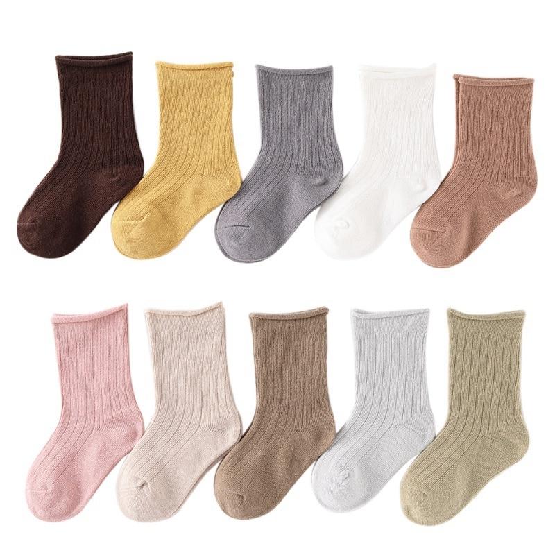 5 Pair/lot  Baby Boys Girls Solid  Socks Autumn Winter Kids Footwear Sock Newborn Boys Girls Floor Wear Anti Slip Sock