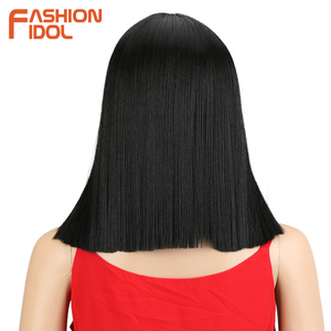 Image 3 - FASHION IDOL Short Bob Wigs For Black Women 14 inch Ombre 613 Blonde Linen Color Neat Fringe Straight Hair Synthetic Wig Cosplay