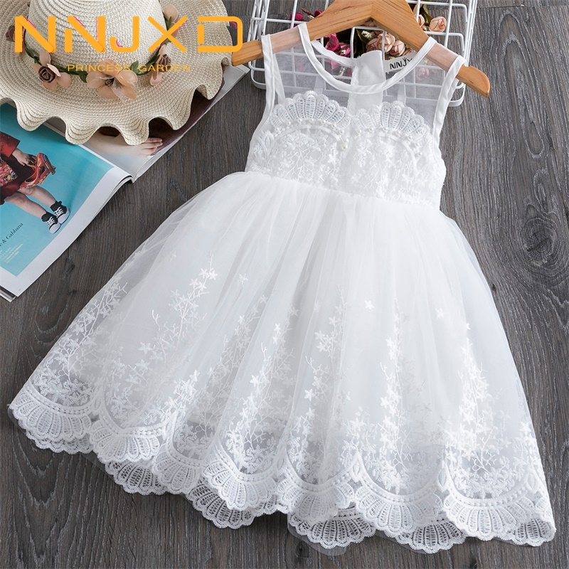 New Floral Summer Beading Princess White Dress For Wedding Party Gown Vestidos Robe Fille 3-8Y Little Girls Ceremony Dresses