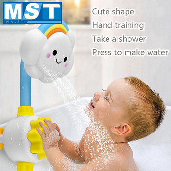 Baby Bath Toys Spray Water Faucet Cloud Rainbow Shower Bathing Games Kids Shower Toy For Newborns Bath Spout Suckers Play Water water thermometer baby bathing frog shape temperature infants toddler shower shower waterthermometer kids product baby bath