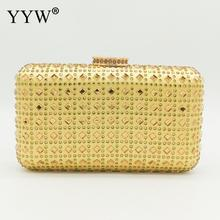 Yellow Women Evening Bag Bridal Clutch Purse Rhinestone Studded Box Bag For Cocktail Wedding Party Beaded Crystal Clutches Prom недорого