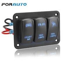 3 갱 로커 스위치 패널 12V 24V 컨트롤 패널 토글 스위치 LED 라이트 ON/Off 자동차 자동차 마린 ATV UTV IP65 방수