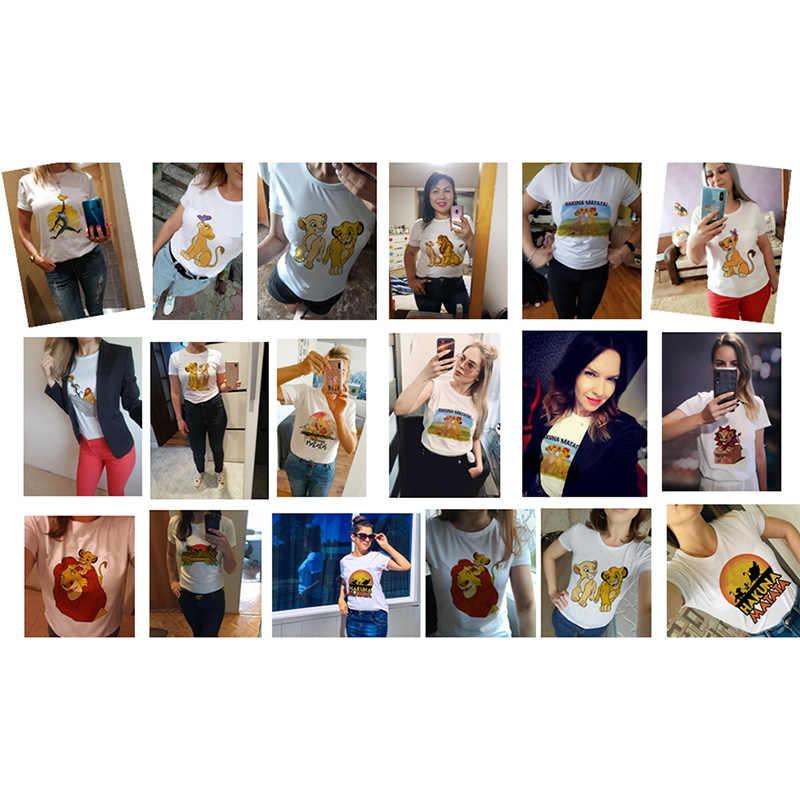 Hakuna matata król lew kreskówka zabawna koszulka z krótkim rękawem kobiety dwa małe lwy drukowane vogue O szyi koszulkę femme