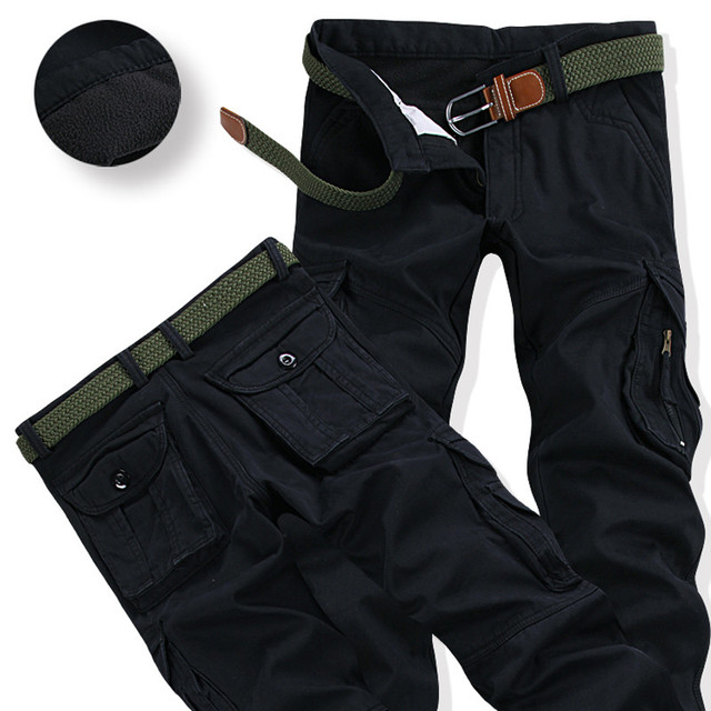 Mens Winter Pants Thick Warm Cargo Pants Casual Fleece Pockets Fur Trouser Plus Size 38 40 2