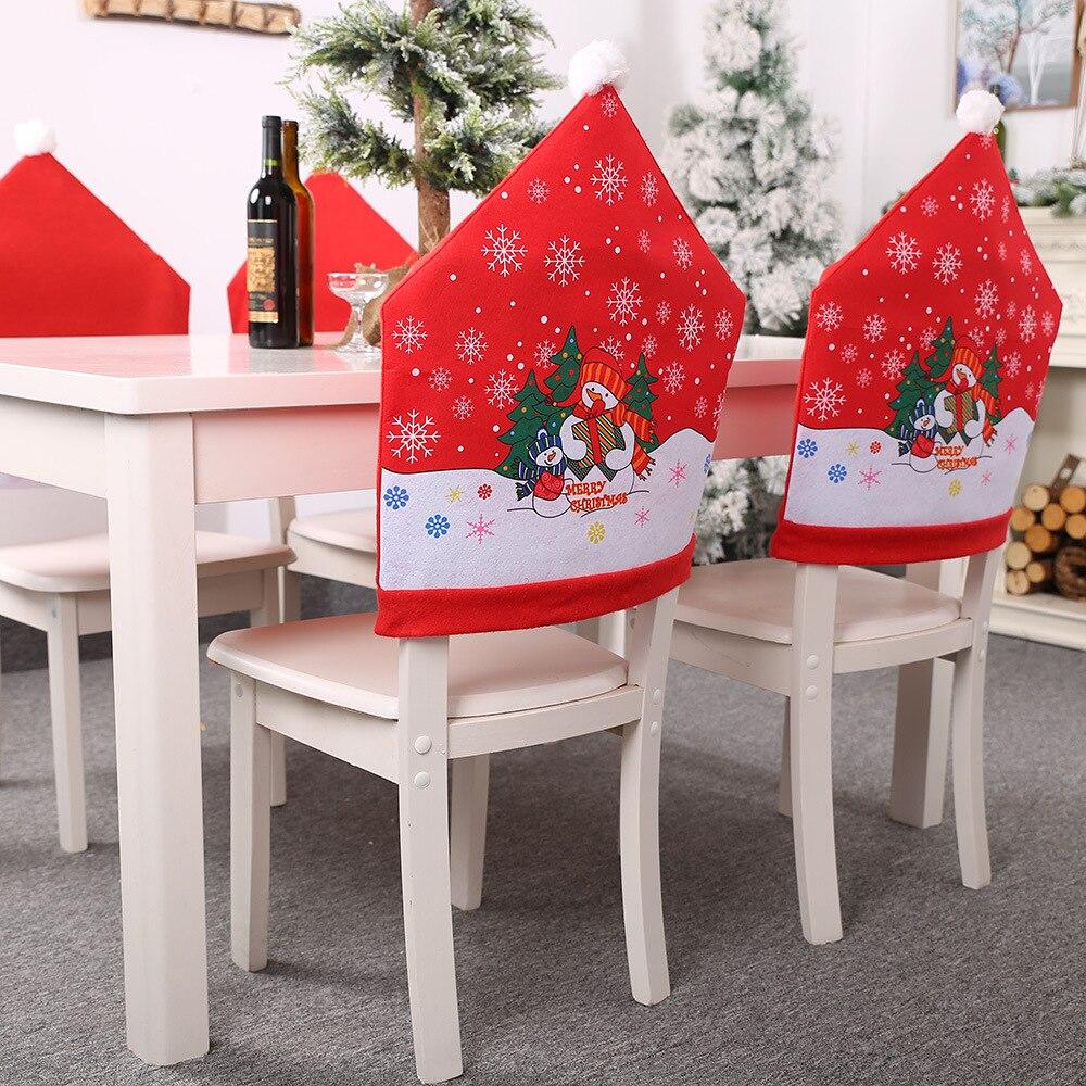 Kerst Navidad 2019 Stoel Cover Fundas Para Sillas De Comedor Stoelhoezen Eetkamer Capa Para Cadeira Decoraties Voor Huis