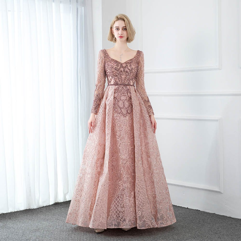 YQLNNE 2020 Collection Pink Long Sleeve Embroidered Evening Dresses V Neck Crystals Beaded Formal Evening Gown